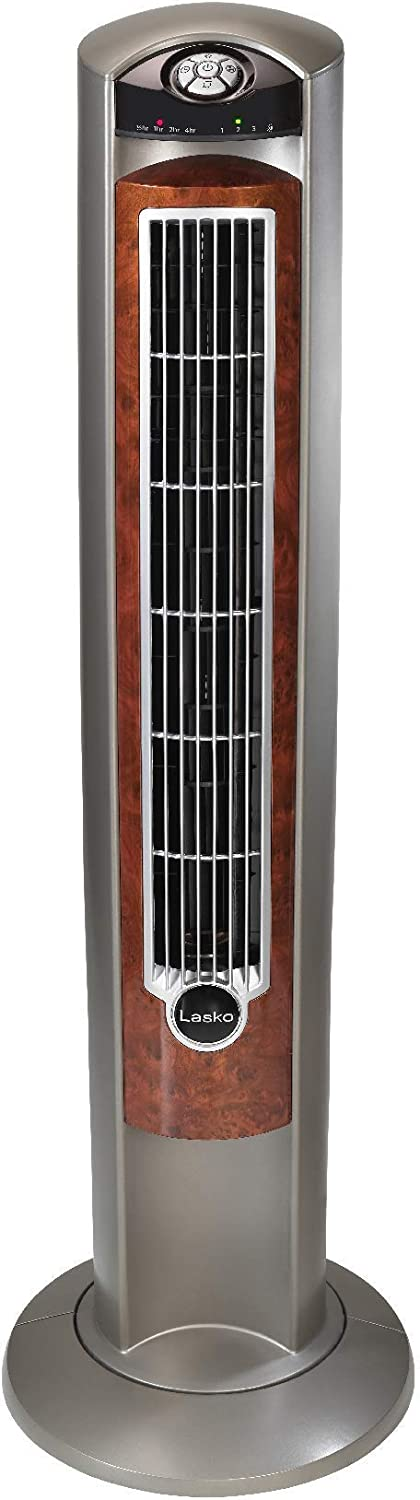 Lasko T42954 Wind Curve Portable Electric Oscillating Stand Up Tower Fan with Remote Control for Indoor, Bedroom and Home Office Use, Woodgrain, 13x13x42.5, Wood (Renewed)