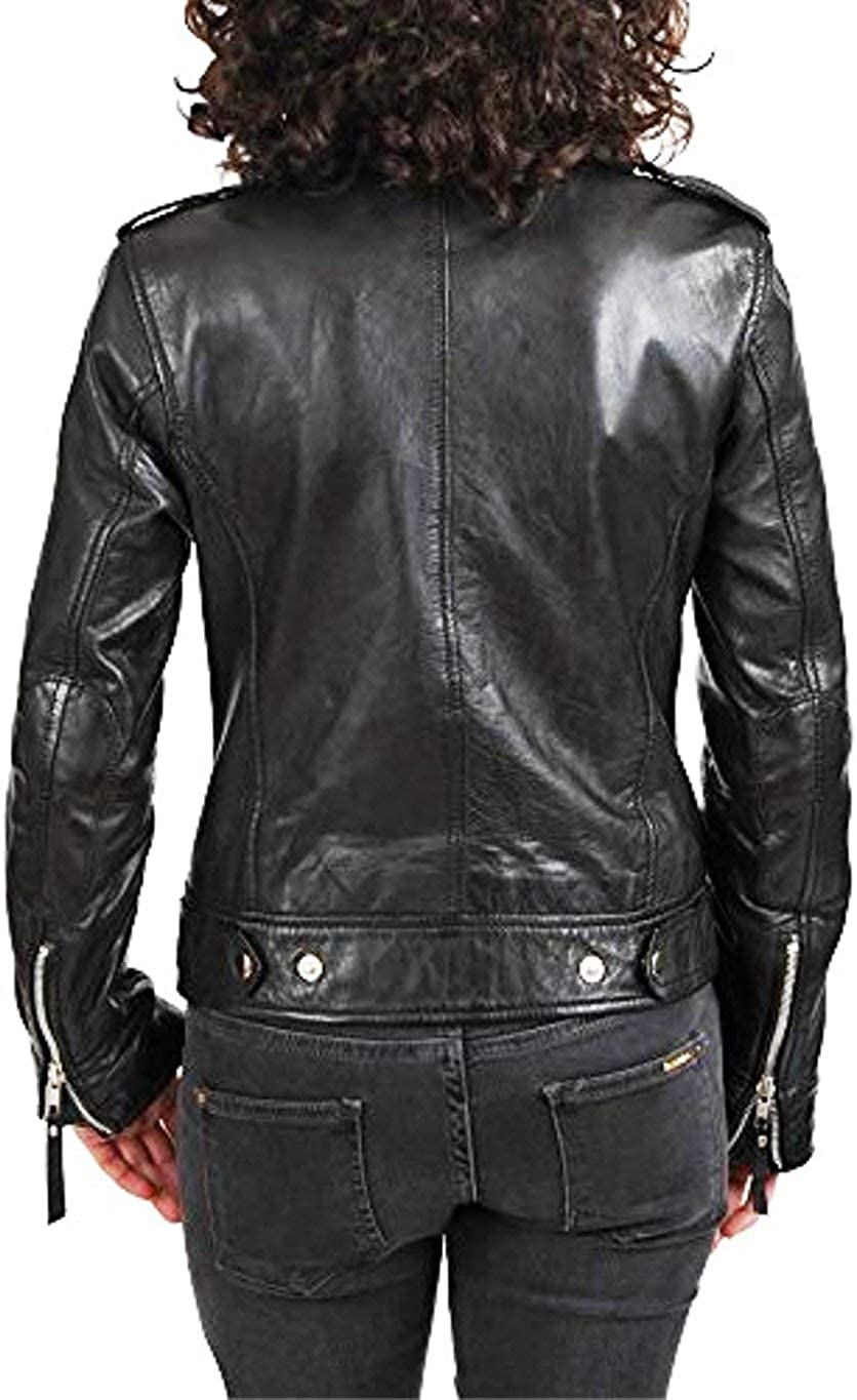 Handcrafted exports Womens Biker Leather Jacket Short Lambskin Zipper Closure Winter Cover Ups