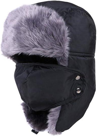 Winter Trapper Hat for Men Women Ushanka Trooper Ear Flap with Windproof Mask