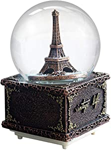 SURPRIZON Paris Eiffel Tower Snow Globe Musical Box with Colorful Changing LED Lights, Home Décor Christmas Brithday Valentine's Day Gifts