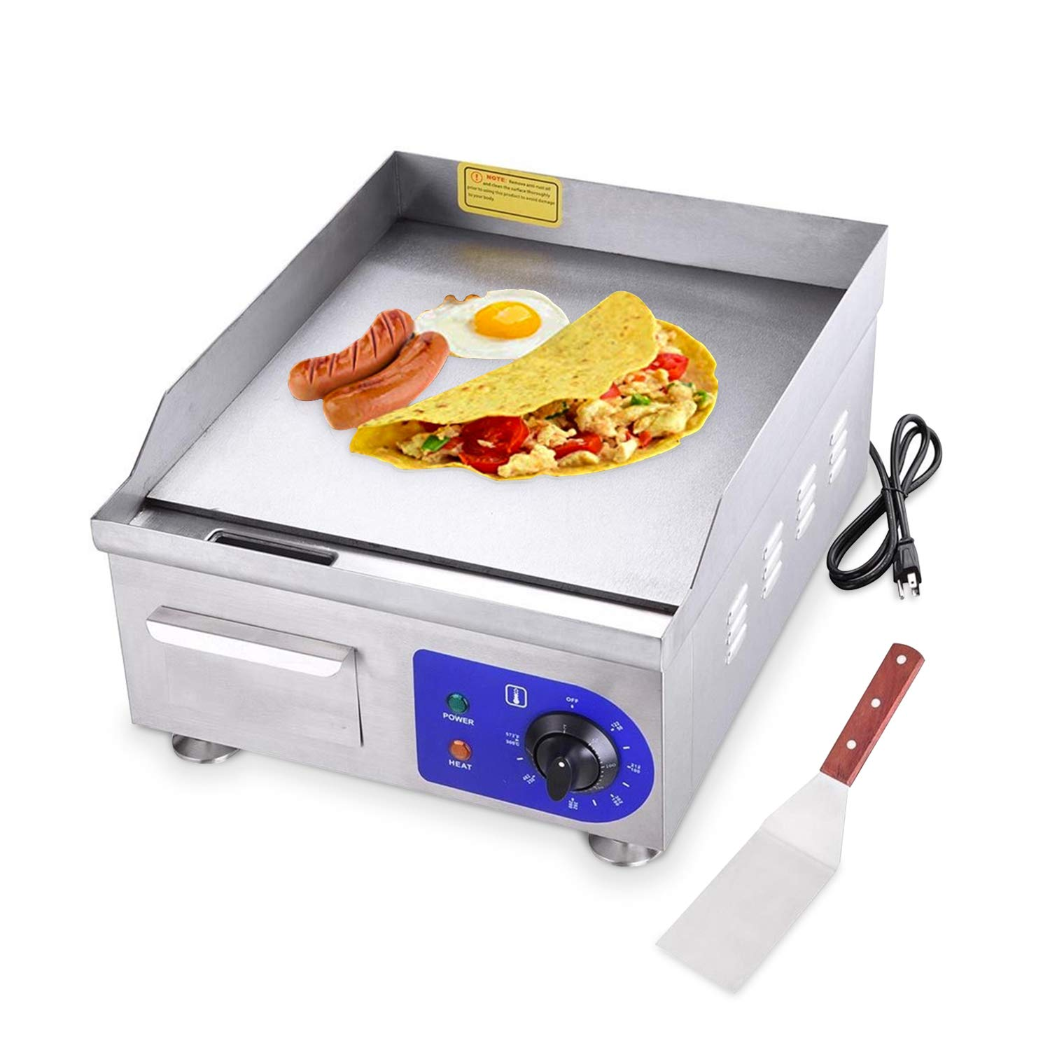 """Koval Inc. 15"""" 1500W Food Electric Griddle Countertop Grill Commercial (15"""" 1500W, Stainless Steel)"""