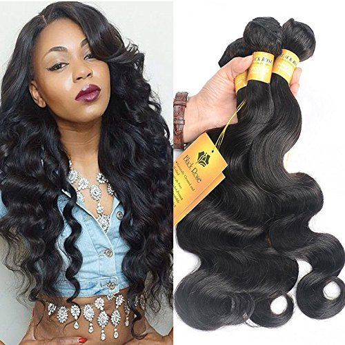 Black Rose Hair Peruvian Body Wave 4pcs Lot 100% Human Hair Extension Unprocessed Peruvian Virgin Hair Body Wave Total 200g/7.05oz 50g/bundles, Pack of 4 (16 18 20 22 ()