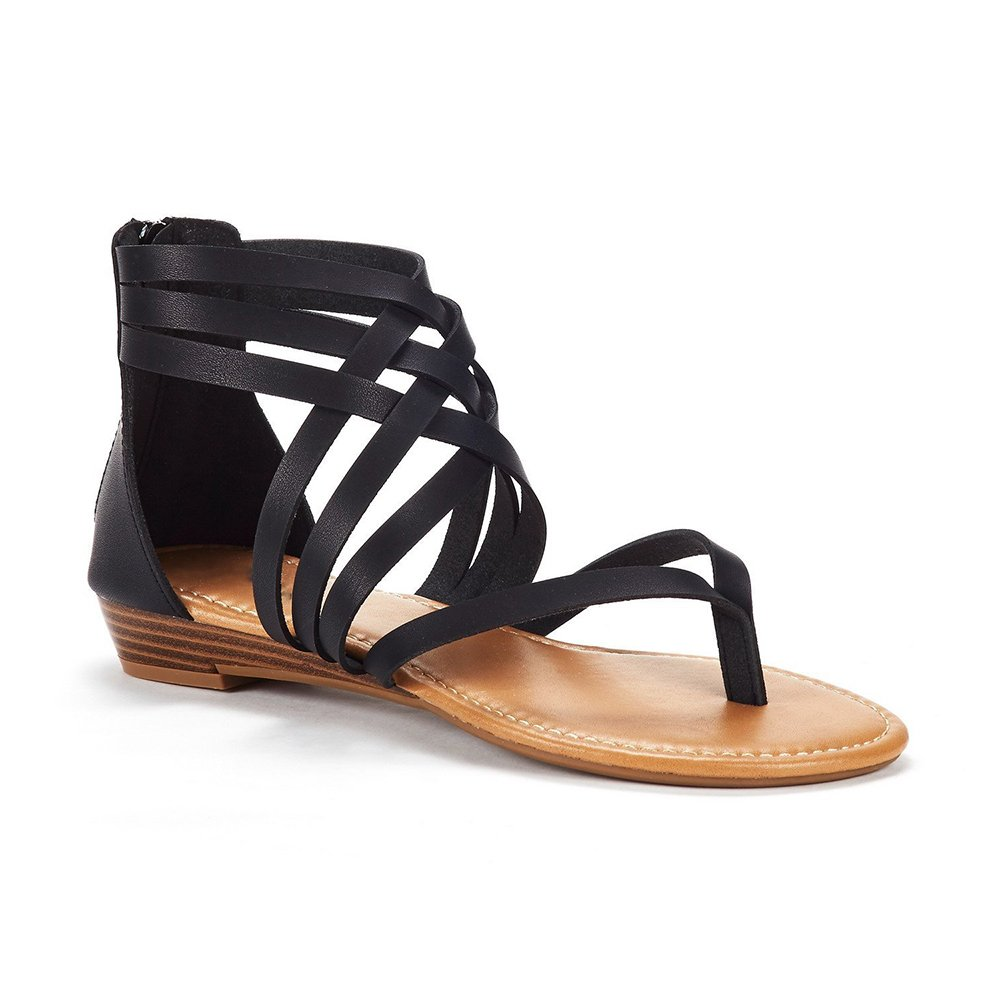 Liyuandian Womens Gladiator Strappy Wedge Sandals Summer Open Toe Flat Shoes