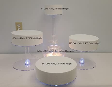 Multi Tier Wedding Cake Stand With LED Lights And Optional Water Fountain 4