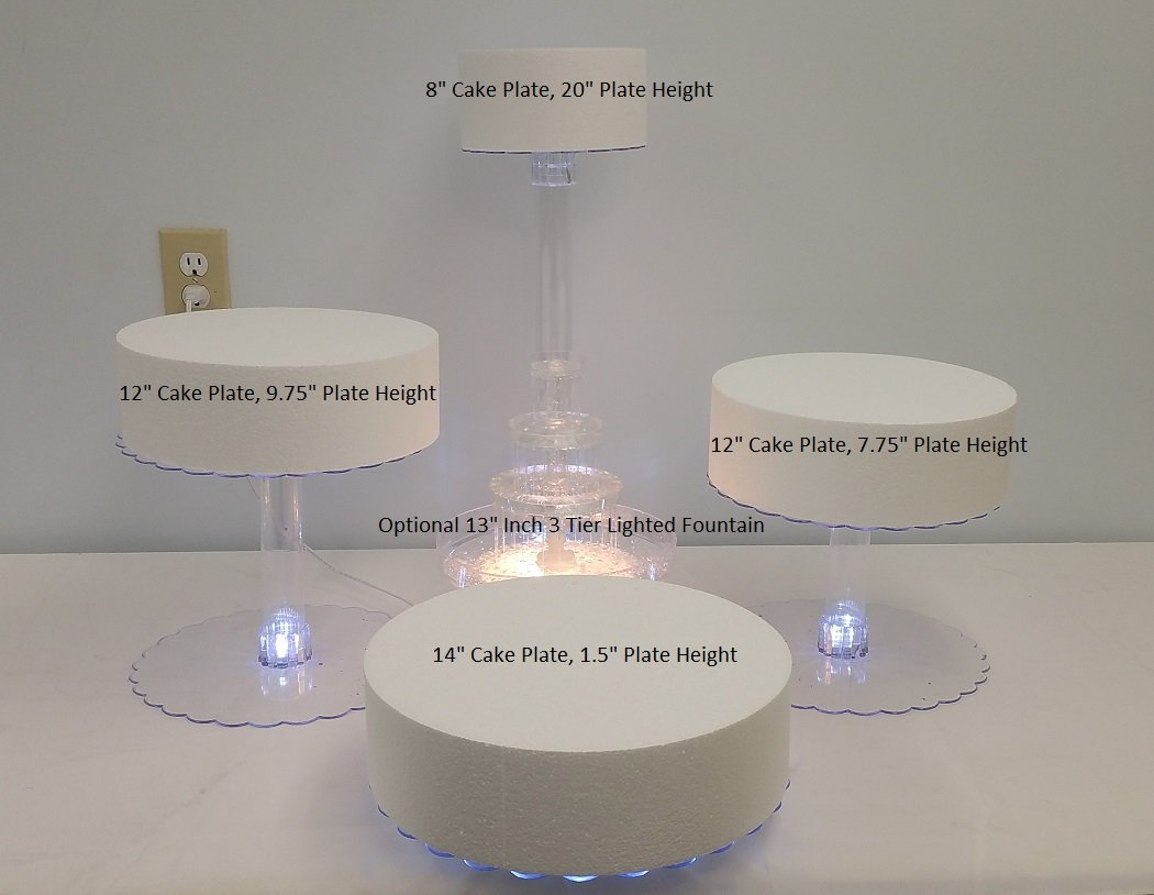 Multi Tier Wedding Cake Stand with LED Lights and Optional Water Fountain (4 Tier Stand, Without Fountain)