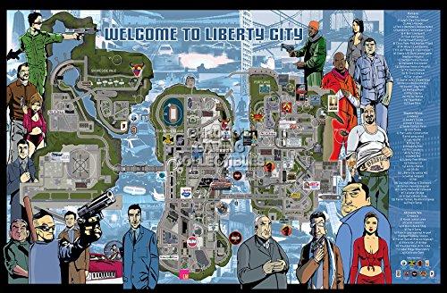 CGC Huge Poster - Grand Theft Auto III Map Ps2 Ps3 Ps4 Original Xbox