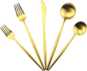 Gugrida Gold Flatware, Royal 5 Piece Luxury Matte Finish 18/10 Stainless Steel Tableware Sets for 1 Including Forks Spoons Knives, Camping Silverware Travel Utensils Set Cutlery (Gold)