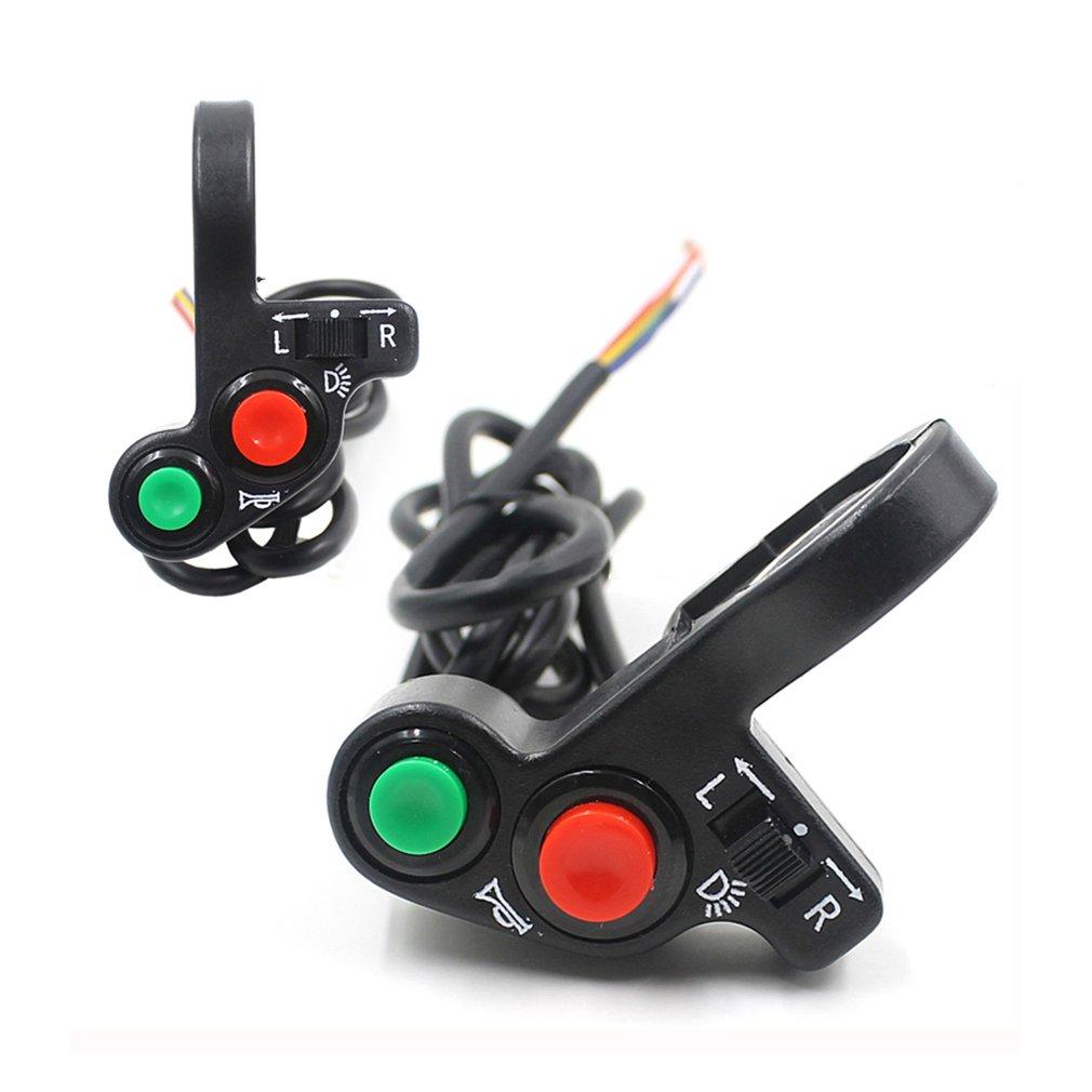 GOOFIT Universal 7//8 Handlebar Turn Signal Light /& Horn Switch Button for Spotlight Scooter Electrombile Moped