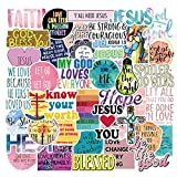Water Bottle Jesus Christian Stickers Laptop Stickers Pack 50 Pcs Faith Wisdom Words Decals for Water Bottle Laptops Ipad Cars Luggages