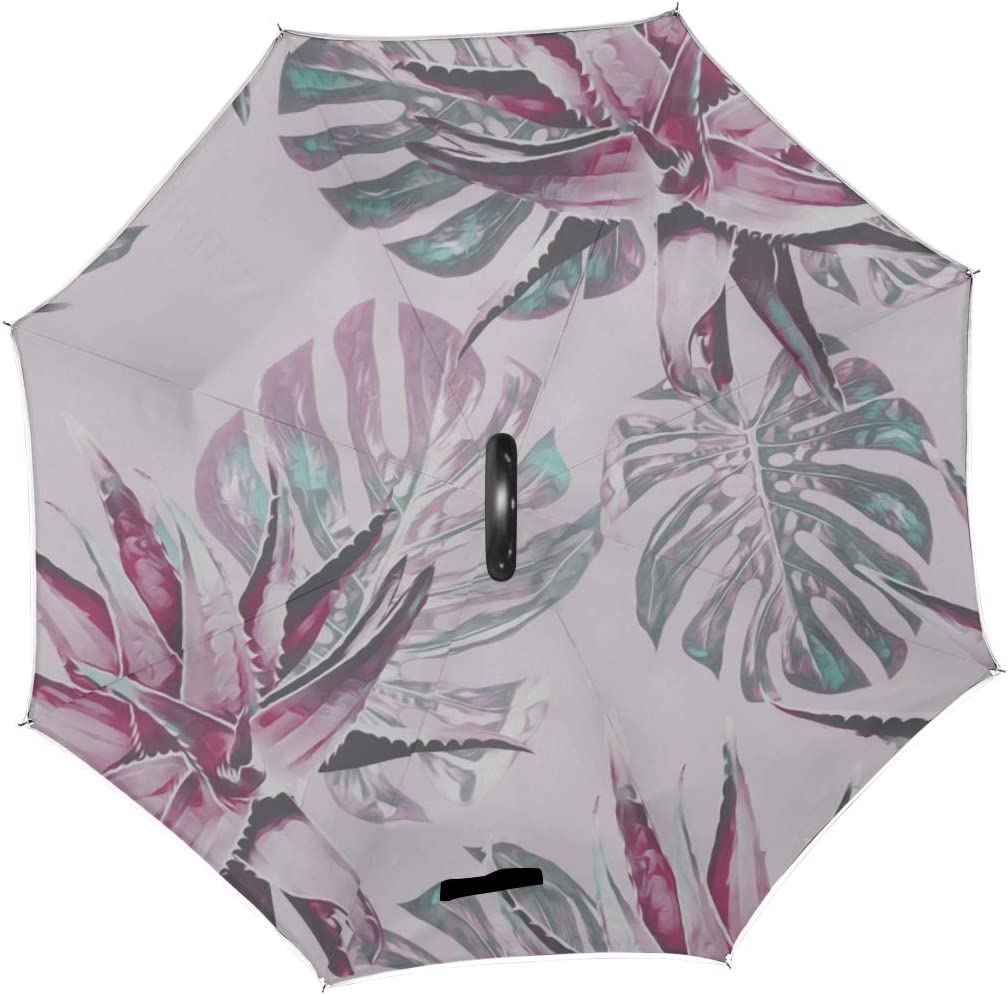 Double Layer Inverted Inverted Umbrella Is Light And Sturdy Tropic Plants Hand Reverse Umbrella And Windproof Umbrella Edge Night Reflection
