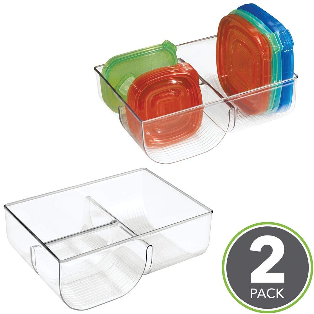 trasparente Porta coperchi con spazio fino a 76 coperchi Ideale per coperchi contenitori plastica vasetti di conserve e molto altro mDesign Set da 2 Portacoperchi