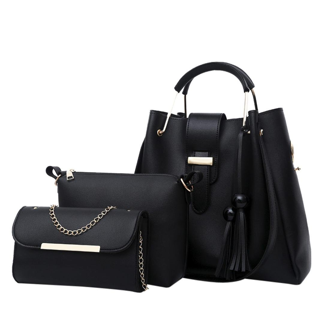 Hunzed Women Handbag, Fashion { 3Pcs Leather Shoulder Bag } { Tassel Crossbody Bag } { Women Girls Handbag } (Black)