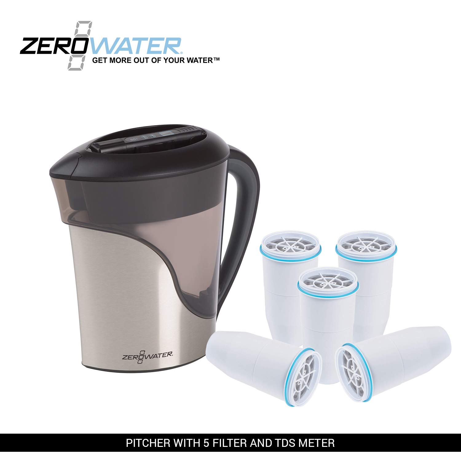 ZeroWater 8-Cup Stainless Steel Pitcher (ZS-008) with Replacement Filters and Free Water Quality Meter (with 2 Filter)