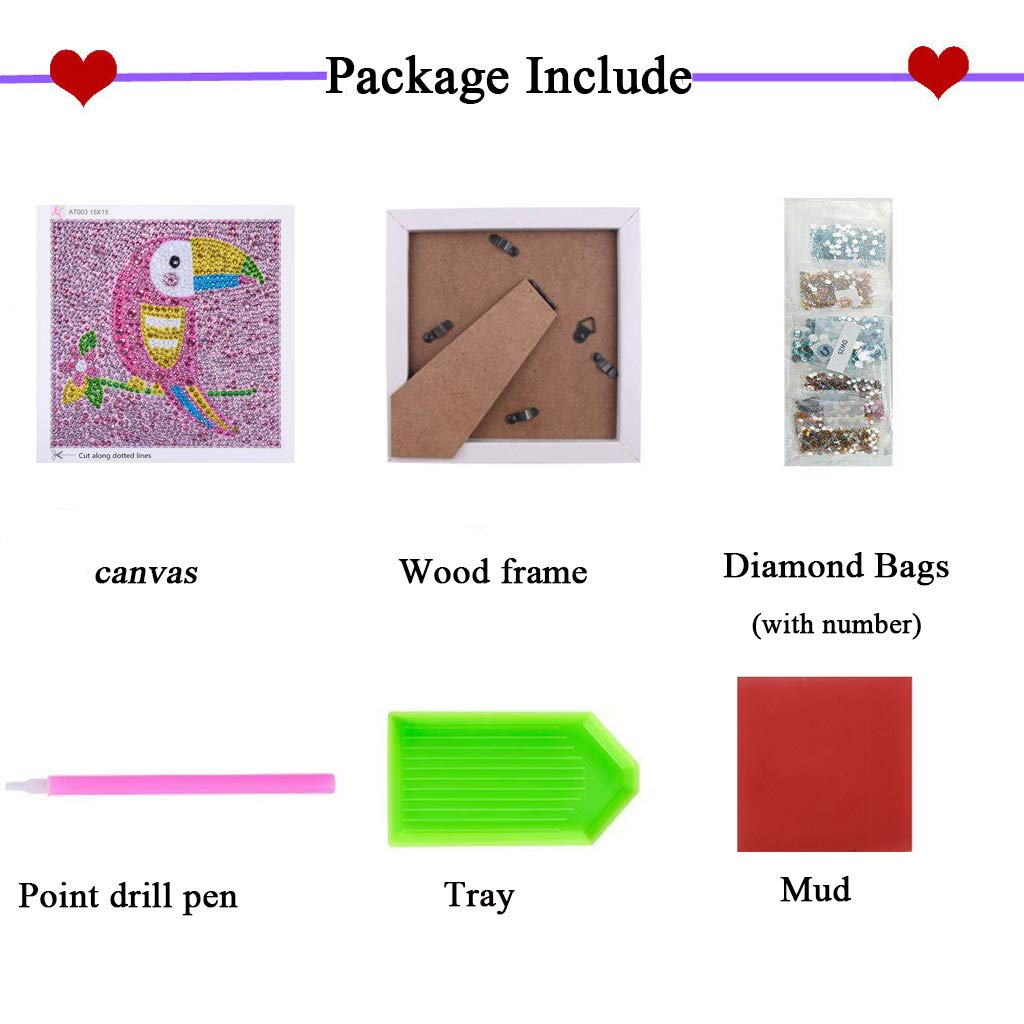 UmbWorld 5D Diamond Painting Full Drill Kits for Kids Piggy DIY Diamond Cross Stitch for Children with Frame 8X6 Inch
