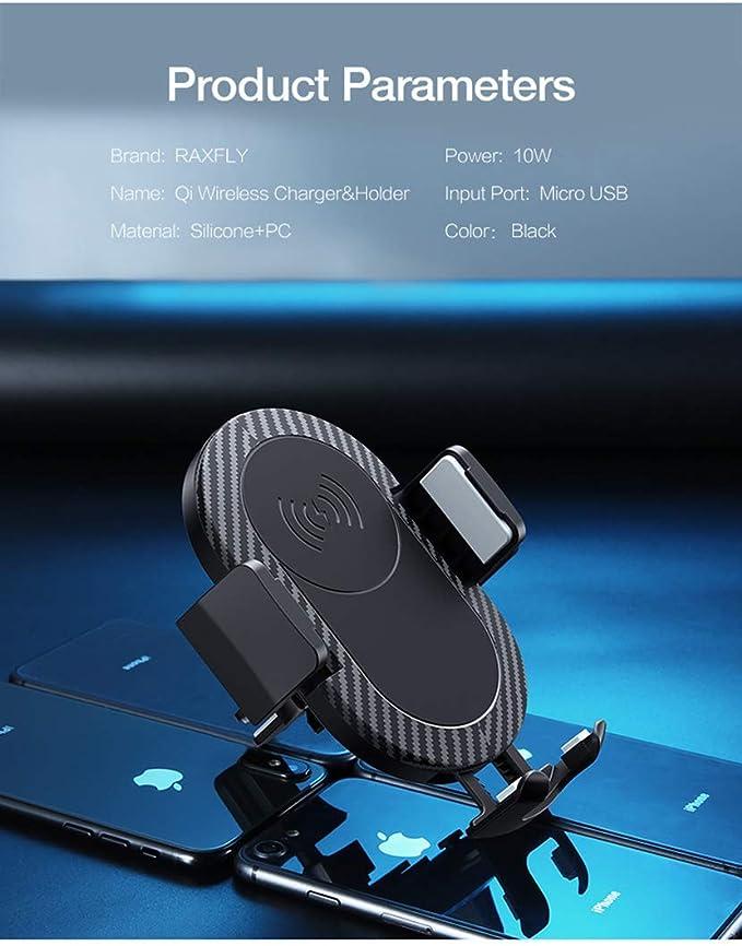 RAXFLY Caricatore Wireless caricabatteria da Auto portacellulare per Computer iPhone x 8/Plus Samsung Galaxy Note 9/S9/S9/Plus Note 8/S8/e dispositivi abilitati Qi
