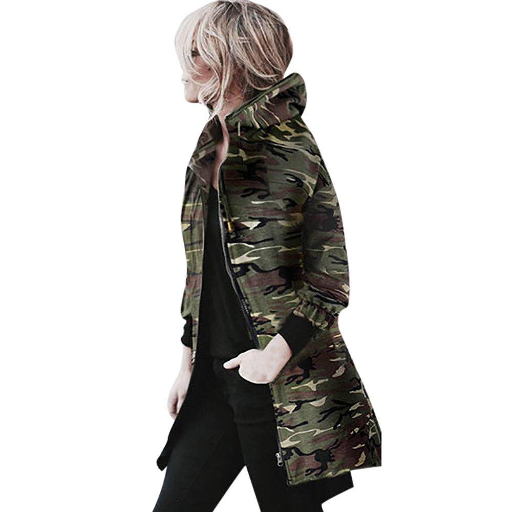 Clearance Sale! Womens Hooded Long Sleeve Coat Jacket Windbreaker Camouflage Outwear (L, Camouflage)