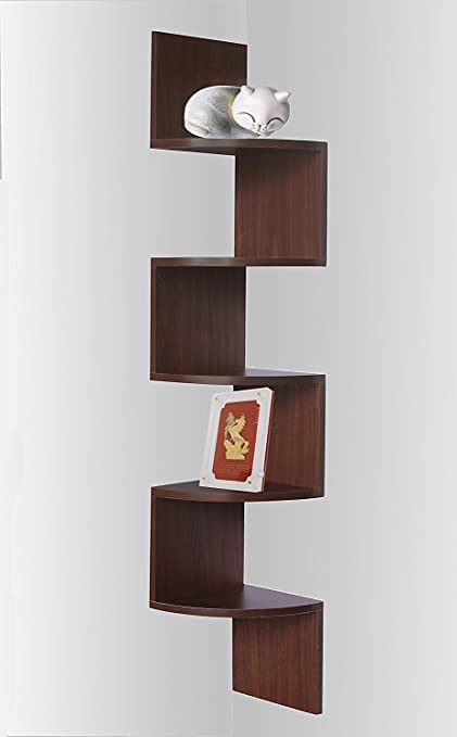 Amazon Com Walnut Finish Corner Zig Zag Wall Shelf Home Kitchen