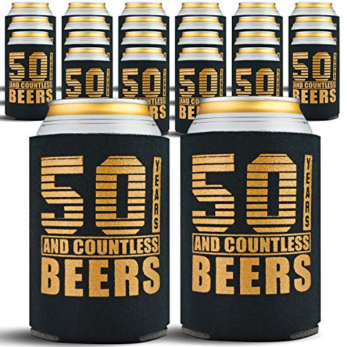 50th Birthday Gifts Men or for Women - 24-Pack Can Coolers - 50th Birthday Gift Ideas Beer Sleeve - 24 Beer Cooler Insulated Sleeves - 50th Birthday Decorations for Men, Black with Gold Lettering