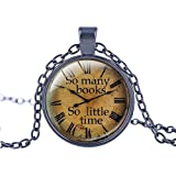 """FM42 So many books So little time Round Pendant Necklace with 26"""" Rolo Chain (4 Styles)"""