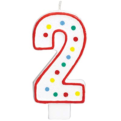 #2 Polka Dots Birthday Candle | Multicolor | Party Supply: Childrens Cake Decorations: Kitchen & Dining