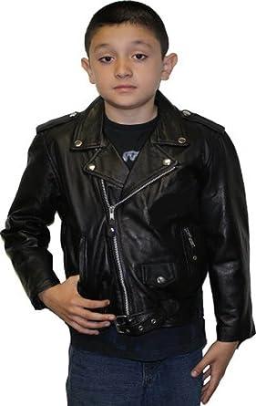 b2e9ecf82 Amazon.com  Unisex Kids Genuine Soft Leather Jacket Outerwear Biker ...