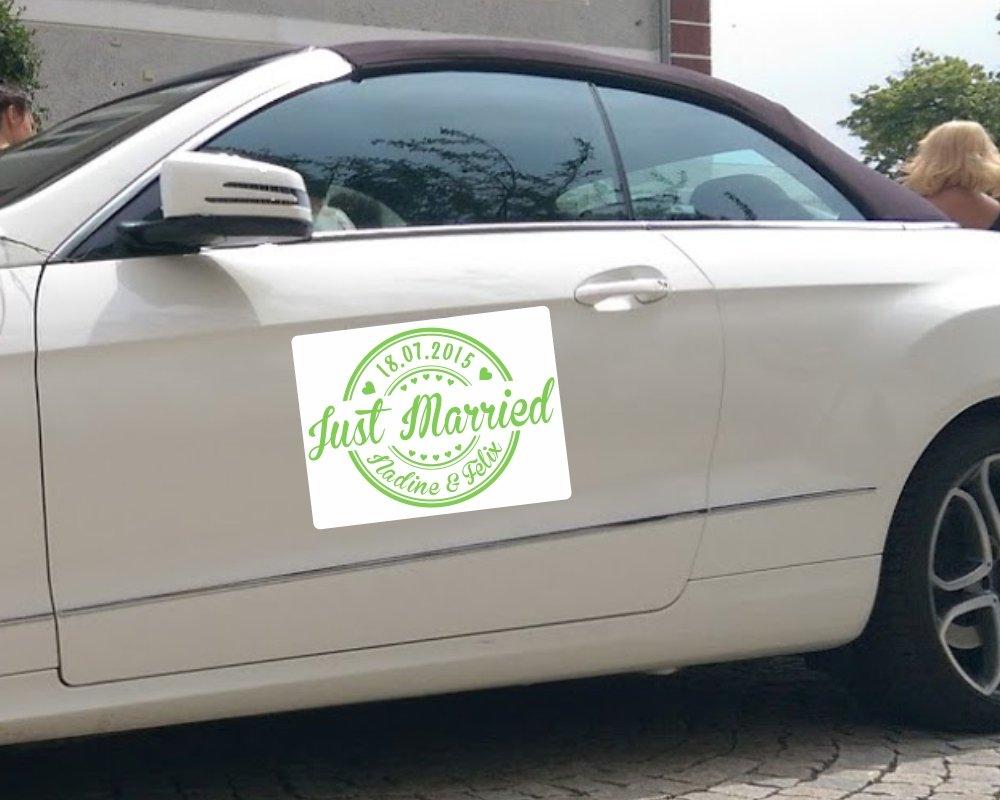 Magnetschild Just Married in verschiedenen Farben mit Wunschnamen und Datum, Hochzeitsgeschenk, veredeln Sie Ihr Hochzeitsauto (1 Stü ck 40 x 30 cm, schwarz) Stickermann