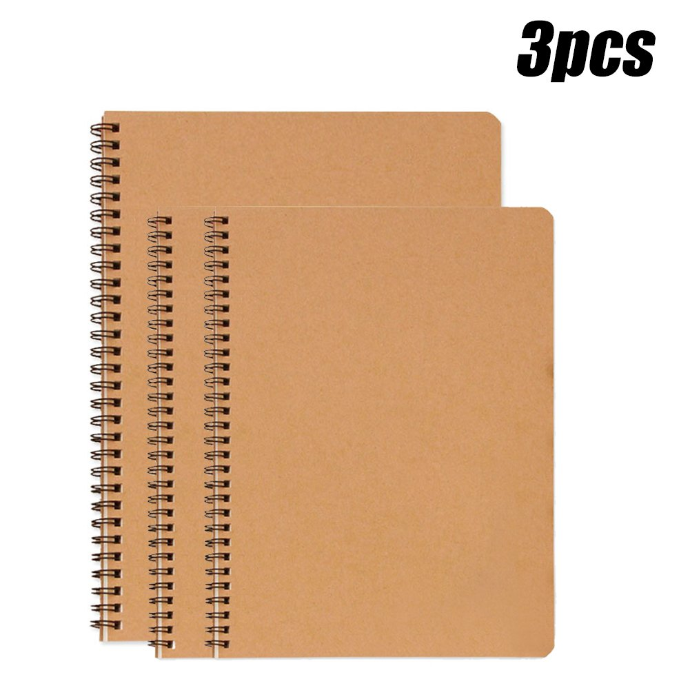 EVNEED 3 Packs Cover Spiral Notebooks Sketchbook Diary Notebook with Blank Inside Pages,100 Pages/50 Sheets,8.3 X 5.5 and 4.7 X 7.1 Inches (Brown)