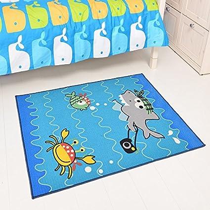 LELVA Boys Bedroom Rugs Childrenu0027s Games Rugs Cartoon Shark Rugs Play Mat  Kids Living Room Carpet