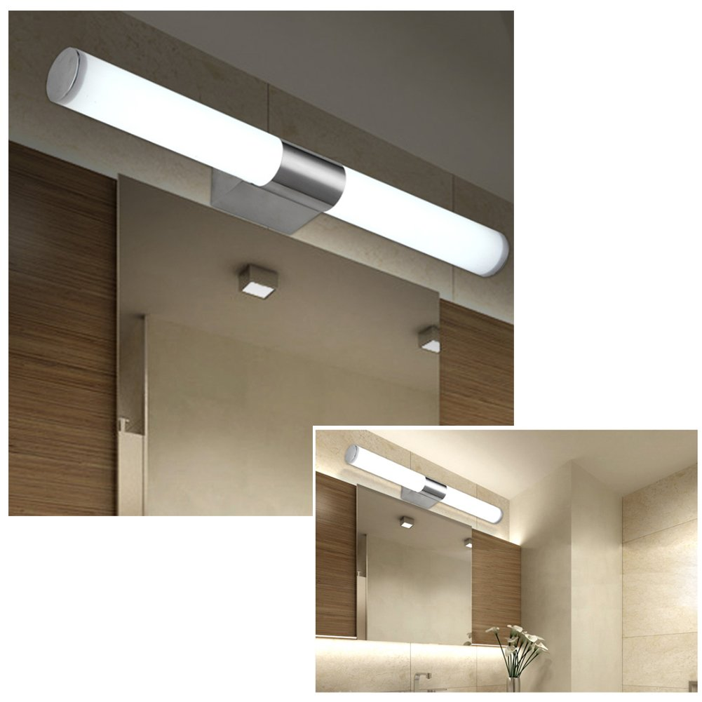 fuloon modern brief tube stainless steel led wall light makeup lighting bathroom under cabinet lights mirror lamp amazoncom