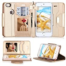 iPhone SE Case, iPhone 5S Case, iPhone 5 Case, FYY Premium PU Leather Wallet Case With Cosmetic Mirror and Bow-knot Strap for Apple iPhone SE/5S/5 Gold