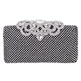 Image of Fawziya Crown Clutch Purse Bling Hard Box Rhinestone Crystal Clutch Bag-Black
