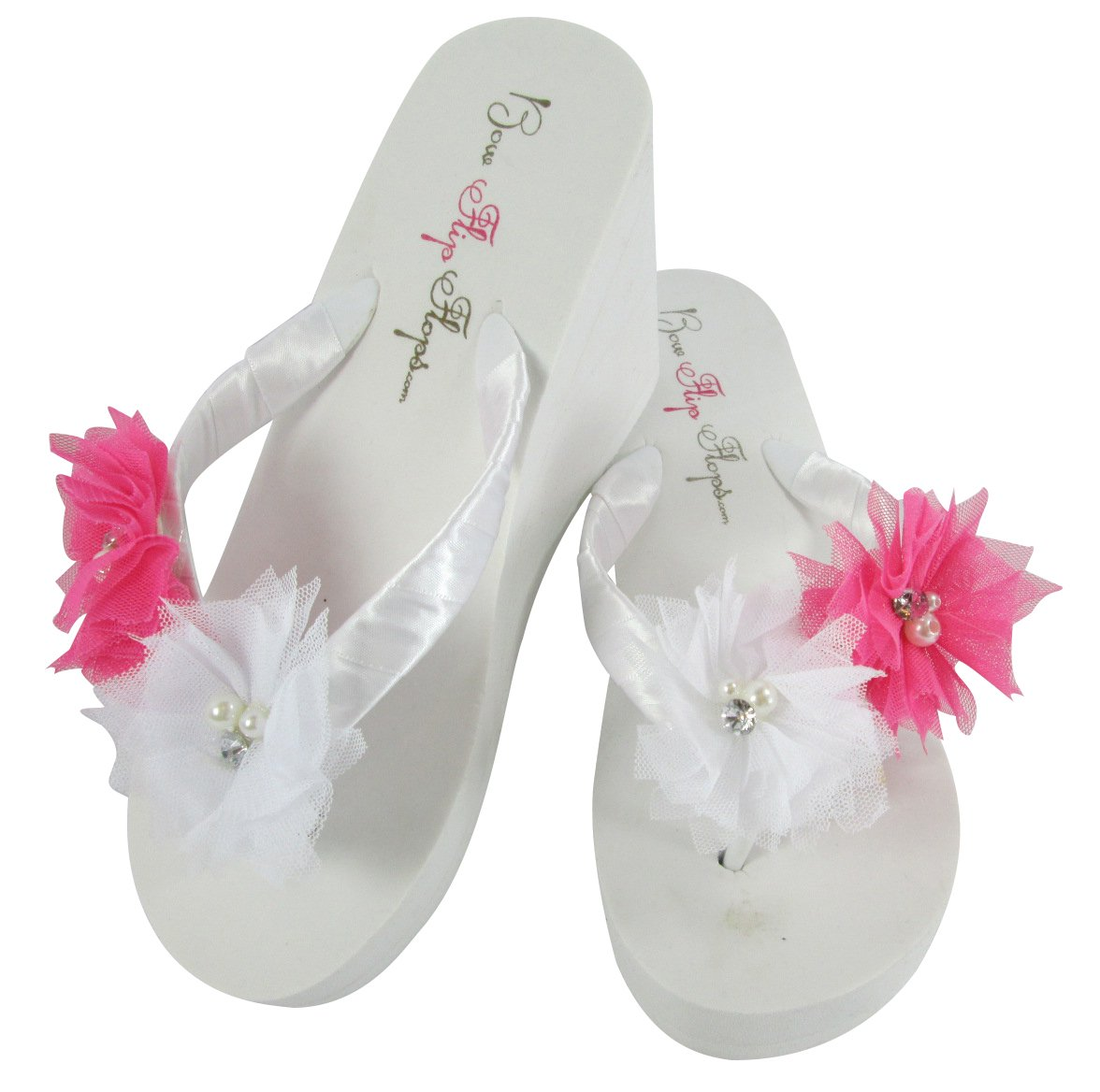 Amazon Bridal Flip Flops With Tulle Flowers Purple Ivory