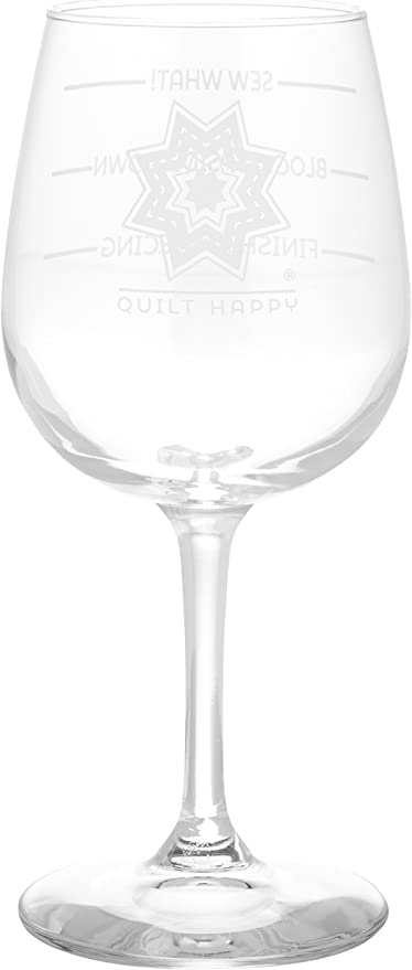 Amazon Com K1c2 Quilt Happy Wine Glass In Box 12 Oz Sew What Arts Crafts Sewing