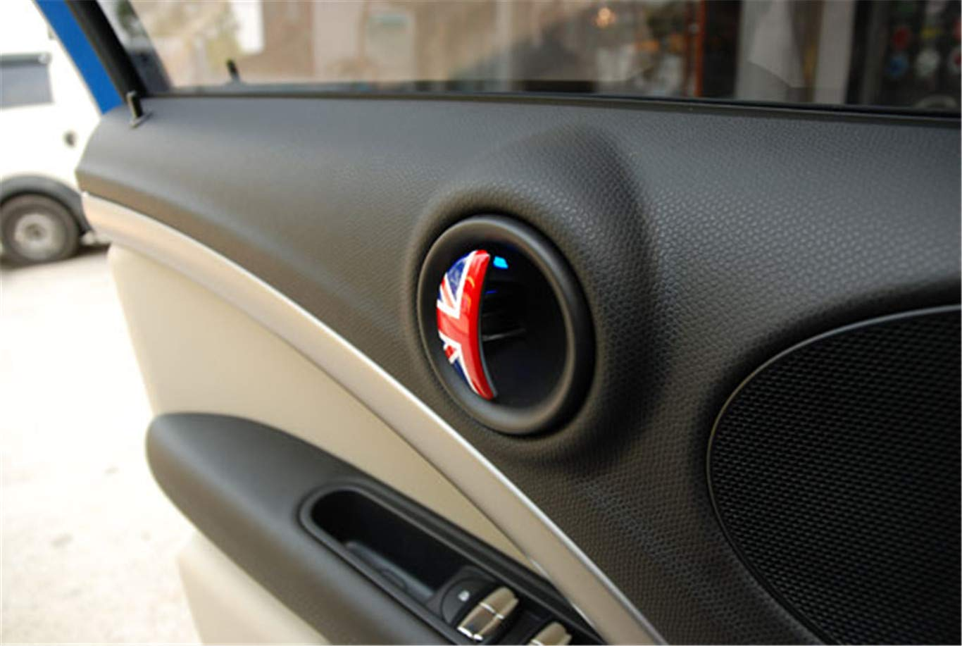 Red//Blue Union Jack UK Flag ABS Sticker Cover Trim Cap for Mini Cooper ONE S JCW R Series R60 Countryman R61 Paceman 2010-2016 Door Handle with Key Hole 4 Pieces