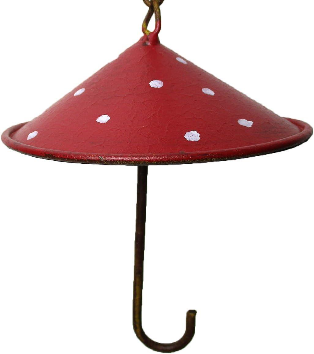 vonHermine Meisenkn/ödel-Halter Metall Schirm /Ø 8cm H 24cm Rot Punkte Vogel Futterstation