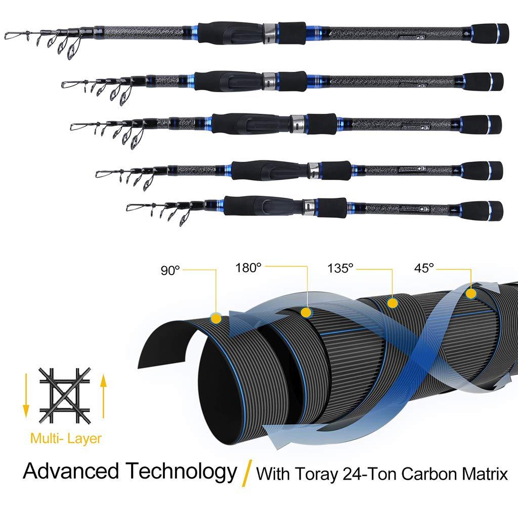 Angelruten Set B Baosity Spinnrute und Spinnrolle aus Karbon Teleskopartige Angelrute mit Meer- Salz und S/ü/ßwasser Set