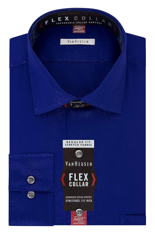 Bleu Marine 42 cm cou 86 cm- 89 cm hommeche (US taille) (US taille) Van Heusen Chemise à col américain souple et rigide en coupe droite ajustée pour homme
