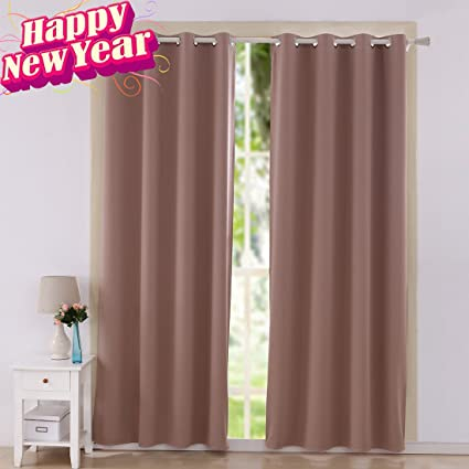 Shilucheng Thermal Insulated Drapes Solid Grommets 52 Inch By 95 Blackout