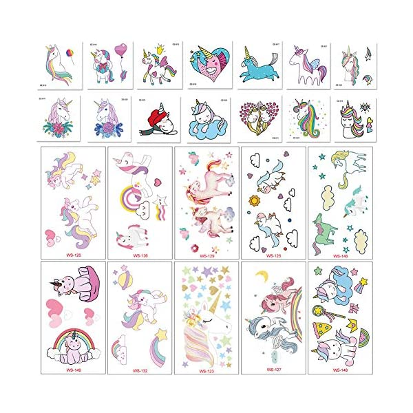 Jatidne Unicorn Temporary Tattoos for Kids Birthday Party, Waterproof Unicorn Tattoo Stencil Unicorn Party Supplies 25 sheets 3