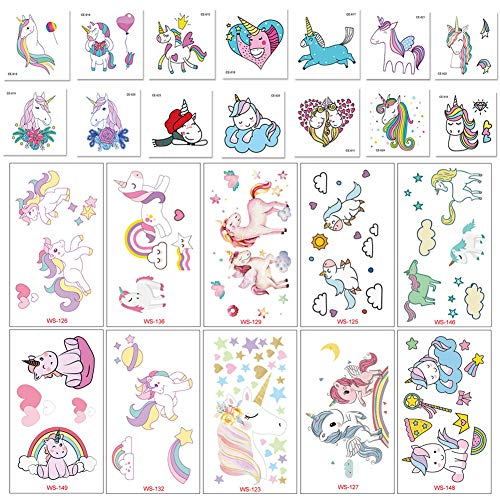 Jatidne Unicorn Temporary Tattoos for Kids Birthday Party, Waterproof Unicorn Tattoo Stencil Unicorn Party Supplies 25 sheets]()