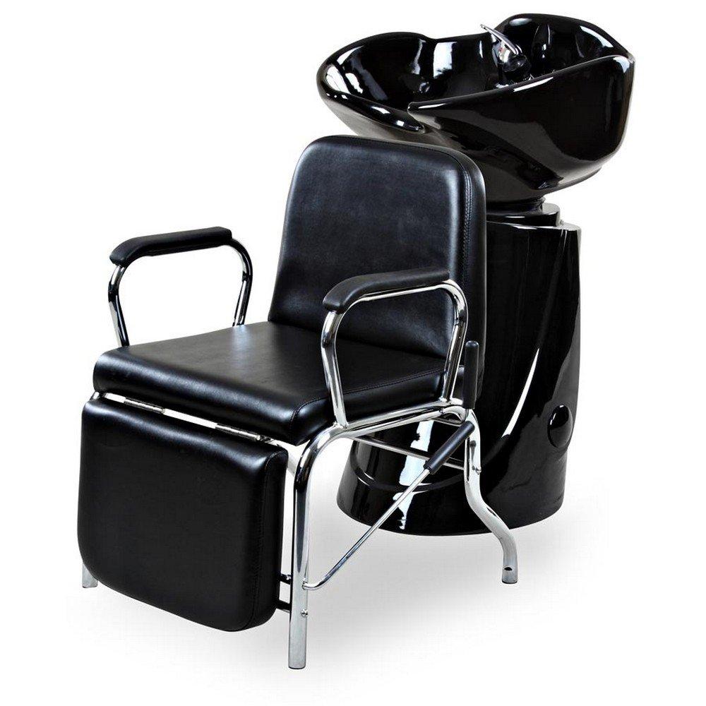 Icarus ''Liger'' Black Reclining Salon Shampoo Chair Backwash Unit Package