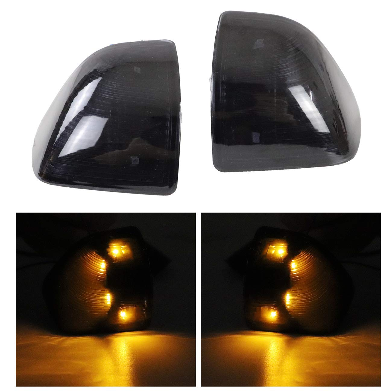 Left + Right Side MFC Black Cover Lens LED Outside Rear View Mirror Turn Signal Lamps lights for 2010-2018 Dodge Ram 1500 2500 3500 4500 5500