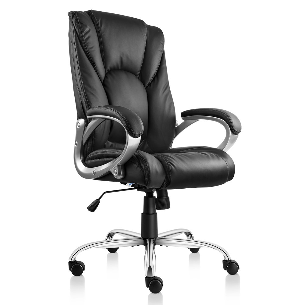 VO Furniture High Back Executive Office Leather Chair Premium Quality Comfortable Back-Tilt Design Recliner Seating Surface Adjustable Rolling Desk Swivel Chair with Lumber Support