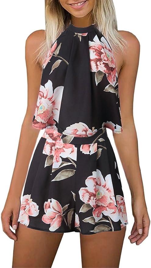 Amazon.com: Mono de verano para mujer, estampado floral, con ...