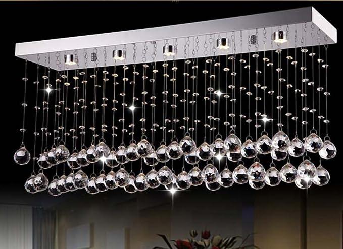 Siljoy Rectangular Modern Crystal Chandelier Lighting For Living Room  Dining Room Kitchen Island L23.6u0026quot
