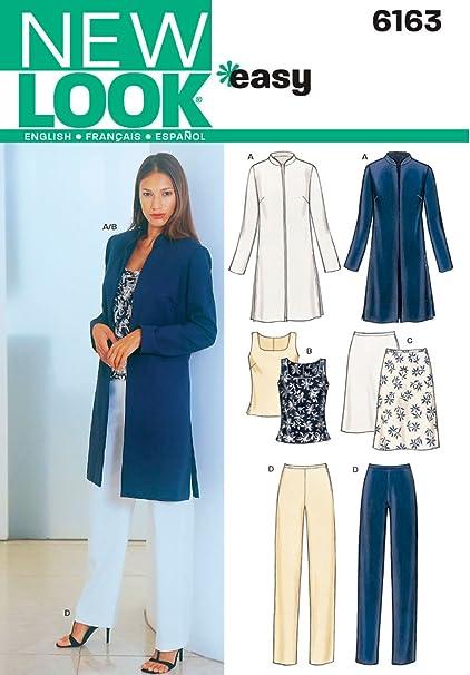 New Look 6163 - Patrones de costura para conjunto de chaqueta, blusa, falta y