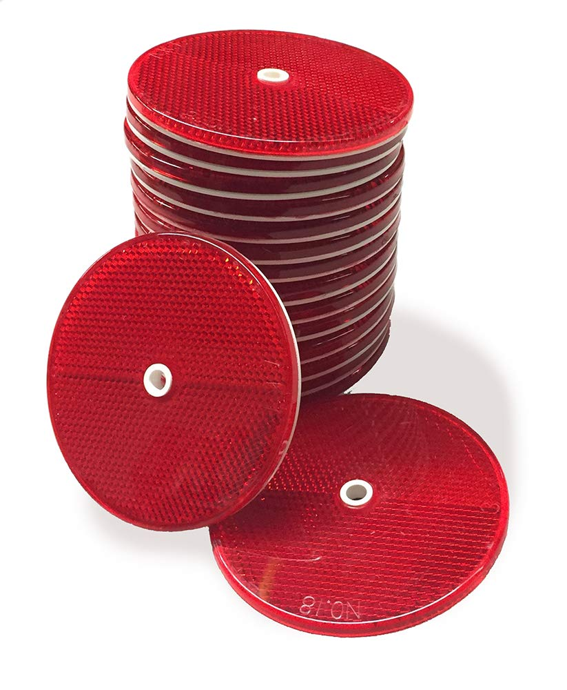 25 Pack of Red Reflector Buttons
