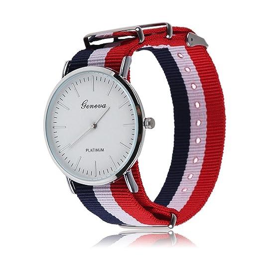 76de5550a1b5 Geneva - Reloj correa de nylon rayas azul rojo  Amazon.es  Relojes