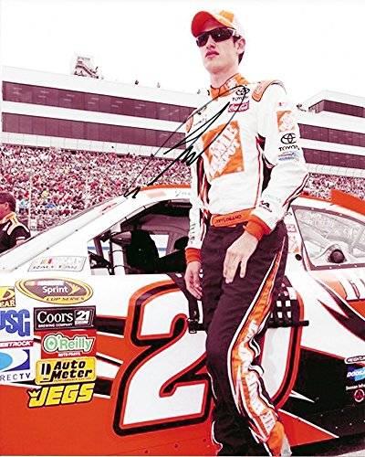 AUTOGRAPHED 2009 Joey Logano #20 The Home Depot Racing ROOKIE DRIVER (Joe Gibbs Team) Pit Road Pre-Race Old Signature Style Signed Picture NASCAR Glossy 8X10 inch Photo with - Depot 20 Home Pit
