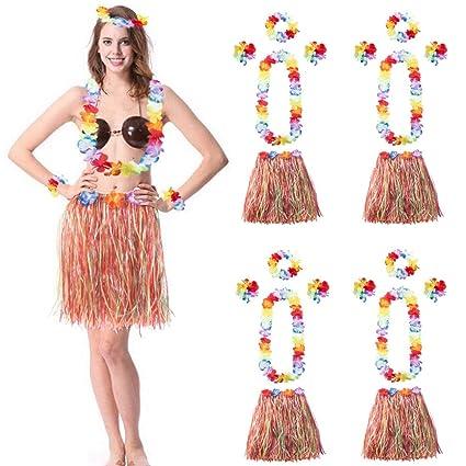 897b3fd0d7a5 4 Sets Child Girls Adult Grass Hula Skirts Elastic Hawaiian Hibiscus Flower  Dancer Dress Performance Costume